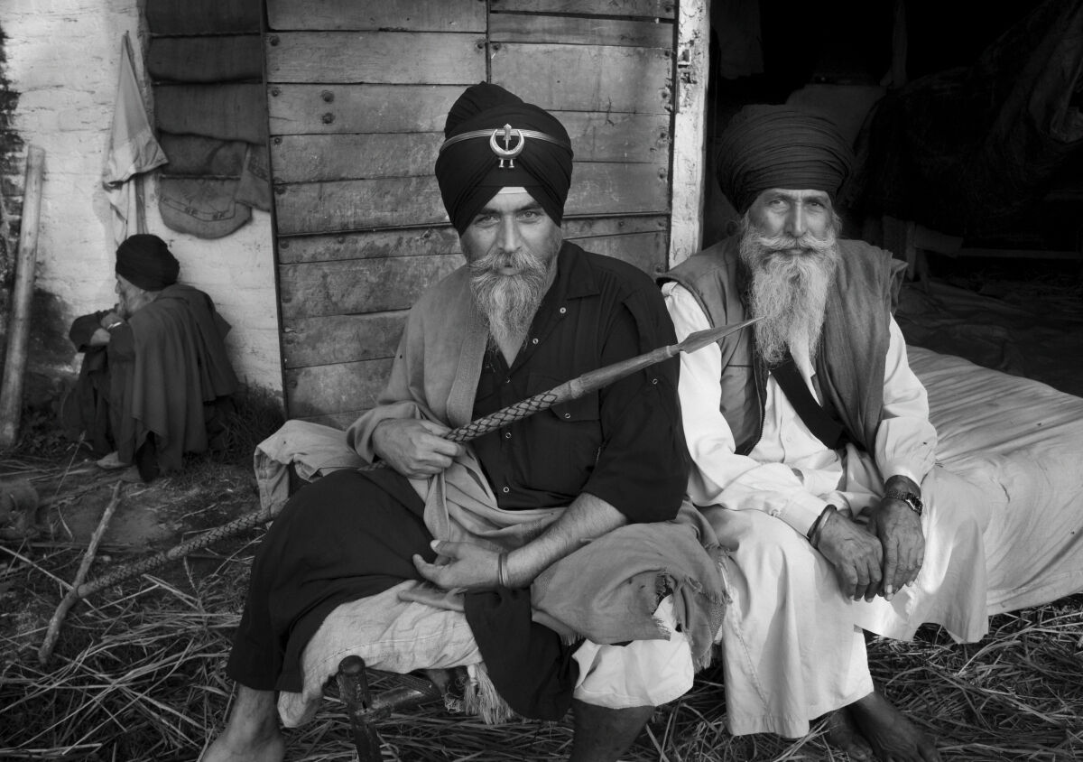 Three Nihangs. Anandpur Sahib. Punjab, India.