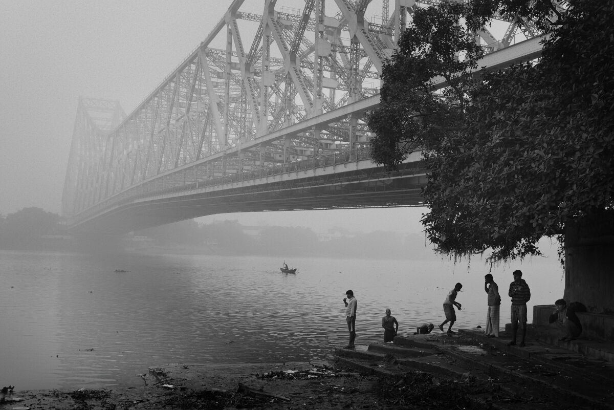 Under Howrah Bridge. Early Morning. Kolkata, India.