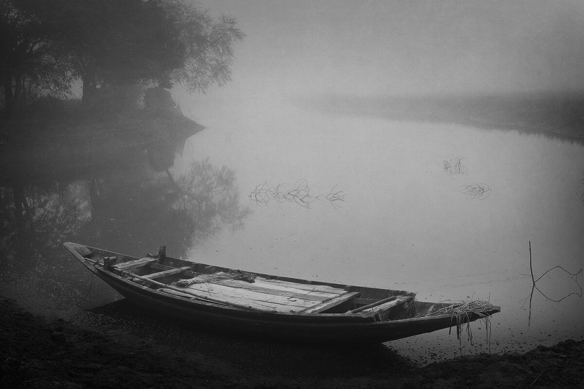 Fishing Boat. Early morning. Sundarbans, West Bengal. India.